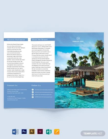 island resort bi fold brochure template