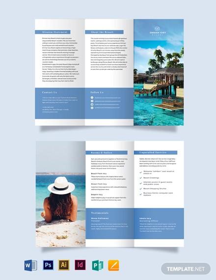 island resort tri fold brochure template