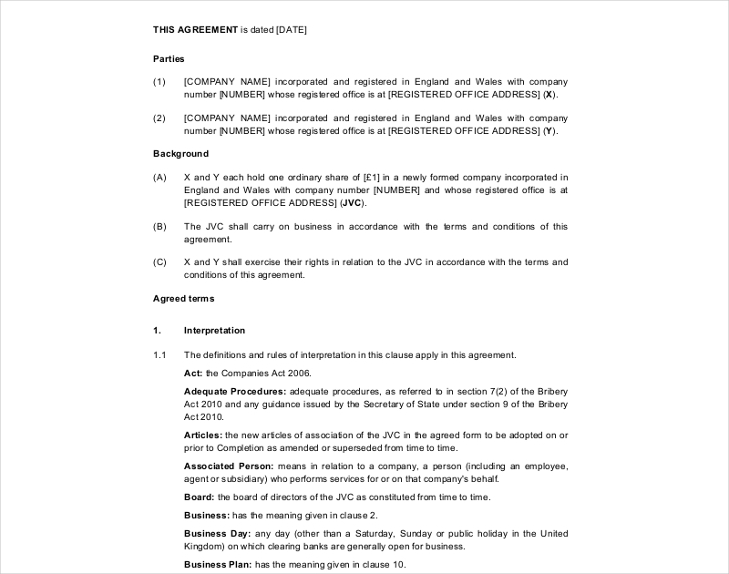 joint venture shareholders agreement