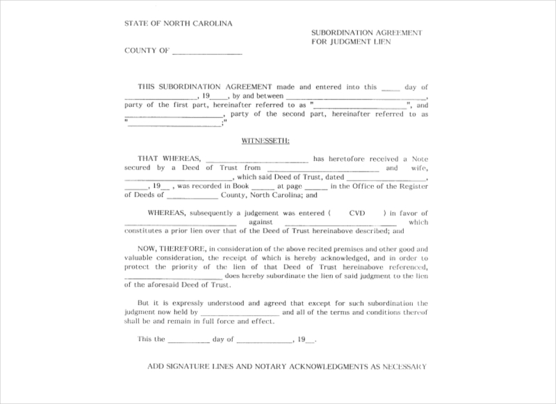 judgment lien subordination agreement