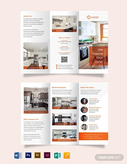 kitchen interior tri fold brochure template