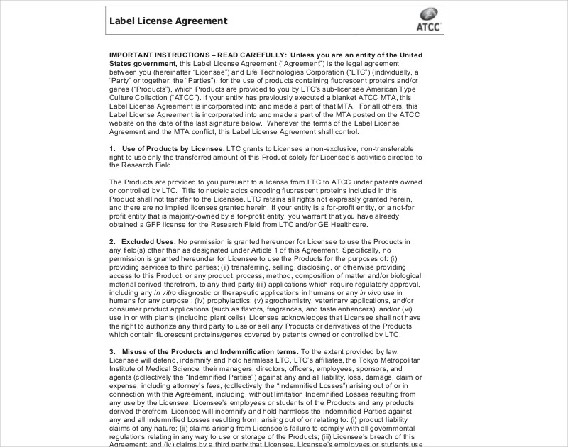 label license agreement