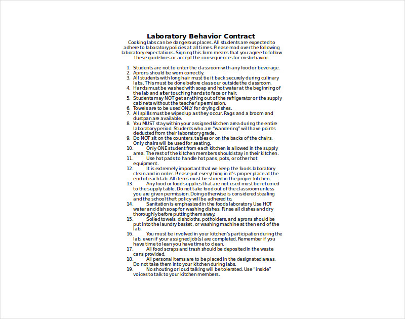 laboratory behavior contract