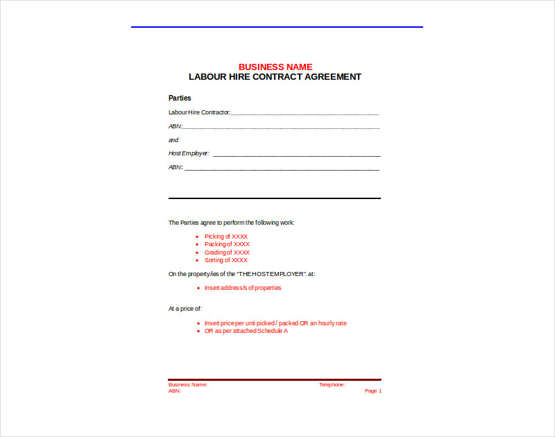labour hire contract agreement