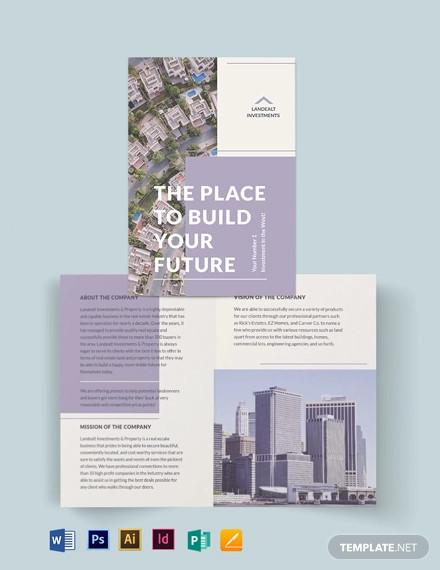 land real estate investor bi fold brochure template