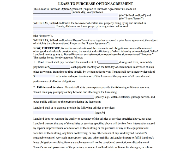 lease to purchase agreement