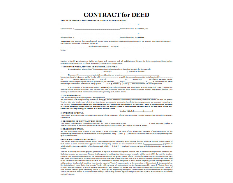 legal contract for deed