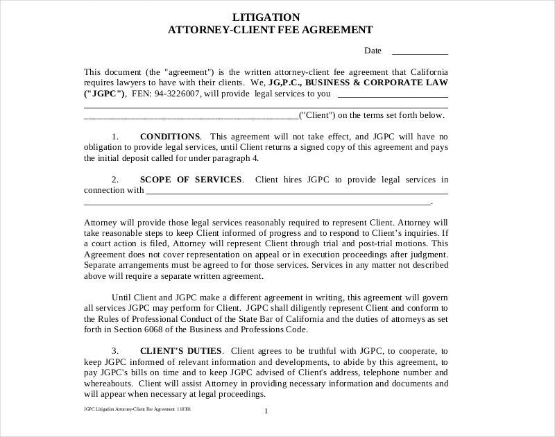 litigation attorney agreement