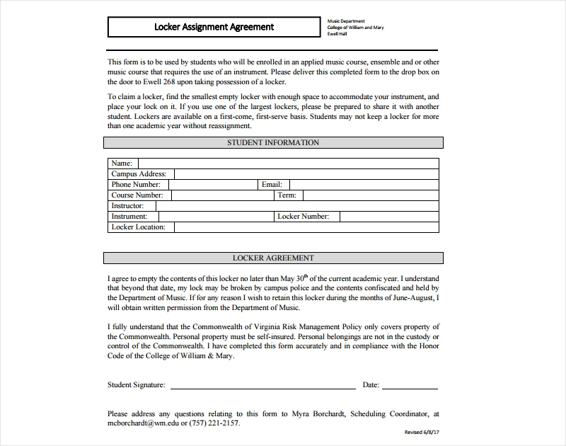 locker assignment agreement