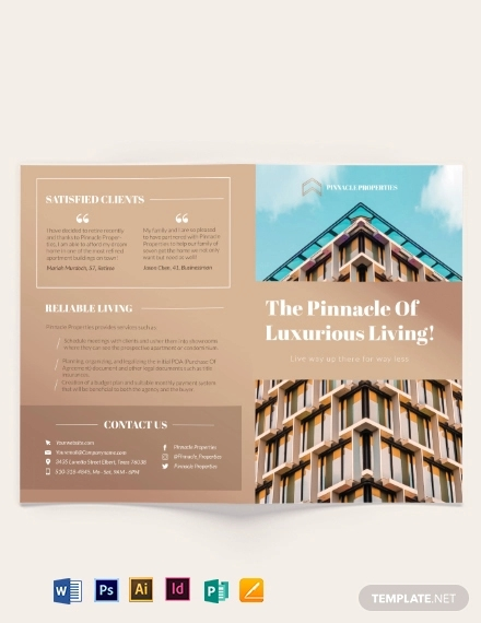 luxury apartment condo bi fold brochure template