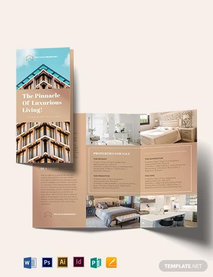 luxury apartment condo tri fold brochure template