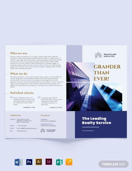 luxury property realtor bi fold brochure template