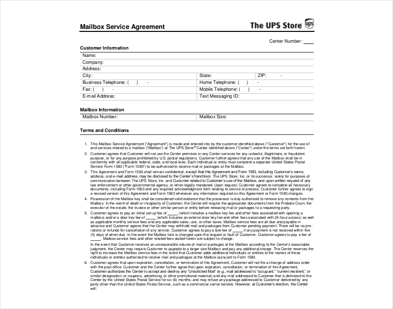 mail box service agreement