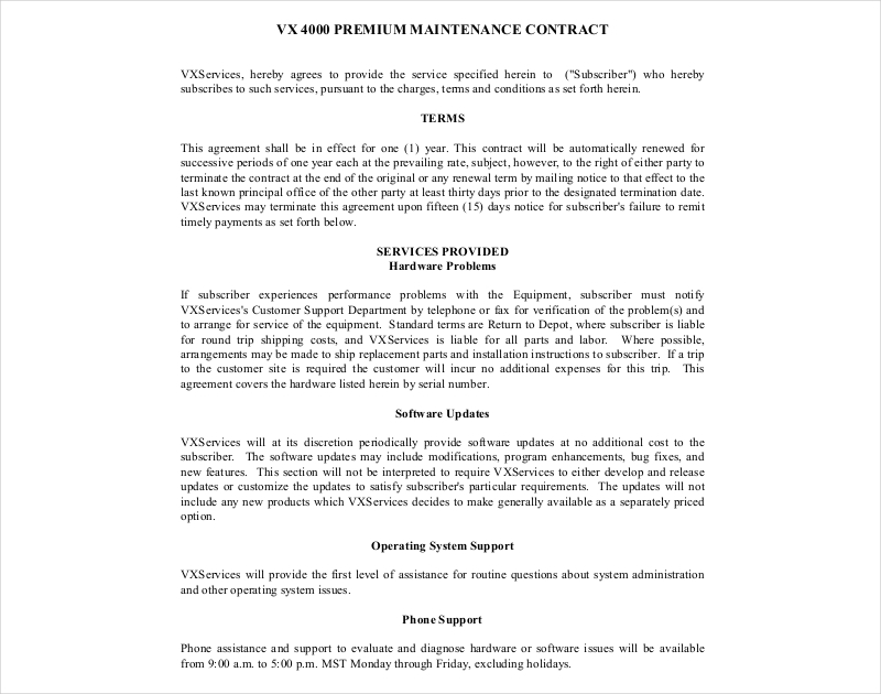 maintenance contract sample
