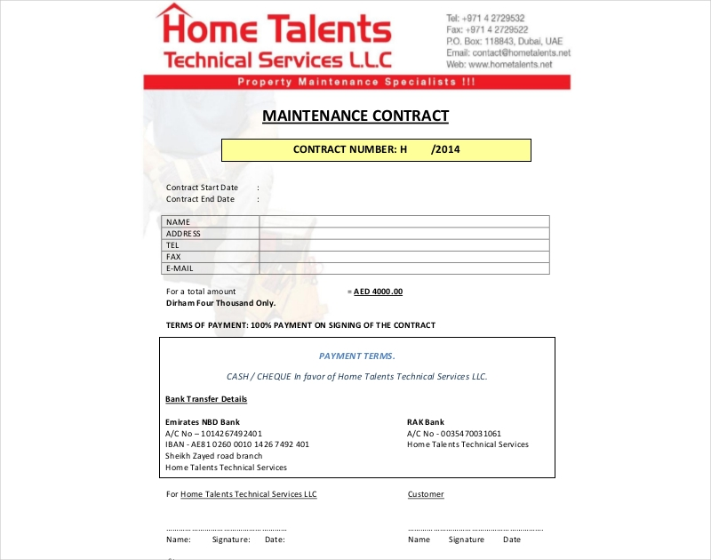 maintenance contract for techincal services