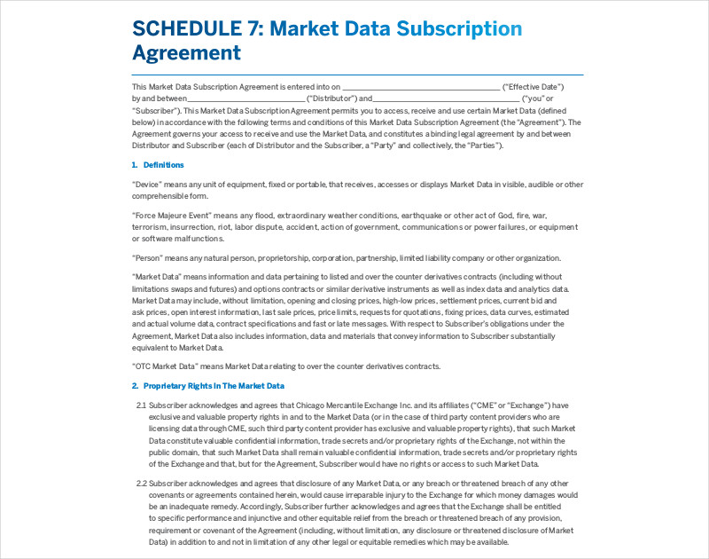 market data subscription agreement
