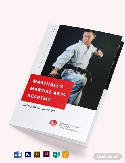martial arts school bi fold brochure template
