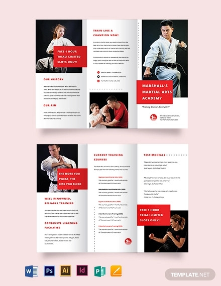 martial arts school tri fold brochure template
