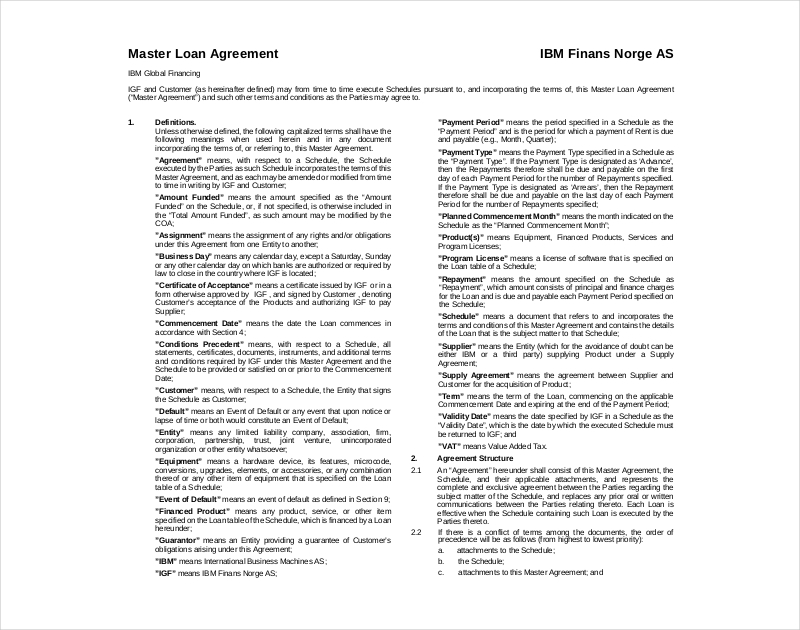 master loan agreement