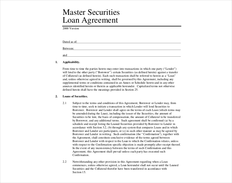 master securities loan agreement