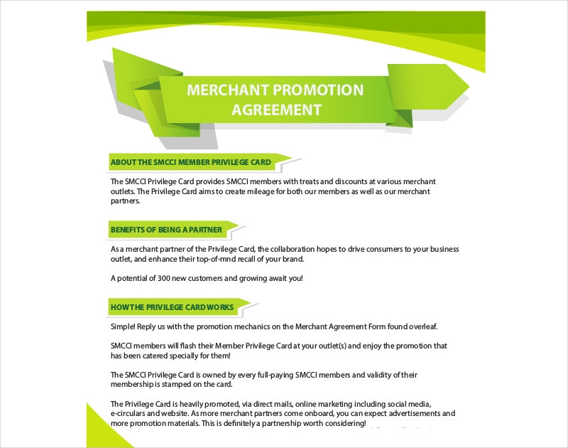 merchant promotion agreement