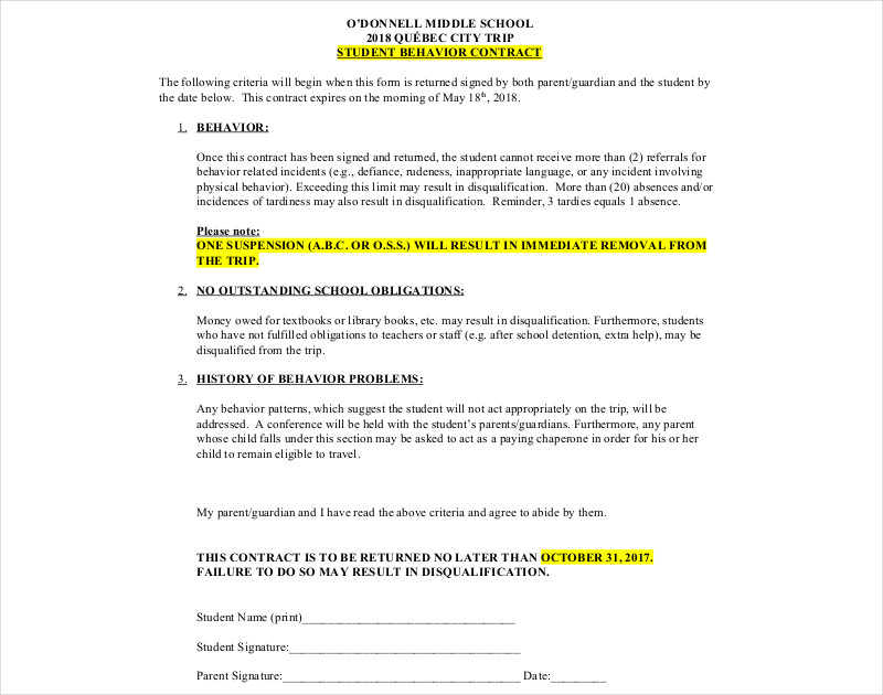 middle school student behavior contract