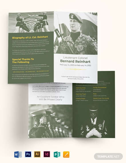 military eulogy funeral bi fold brochure template