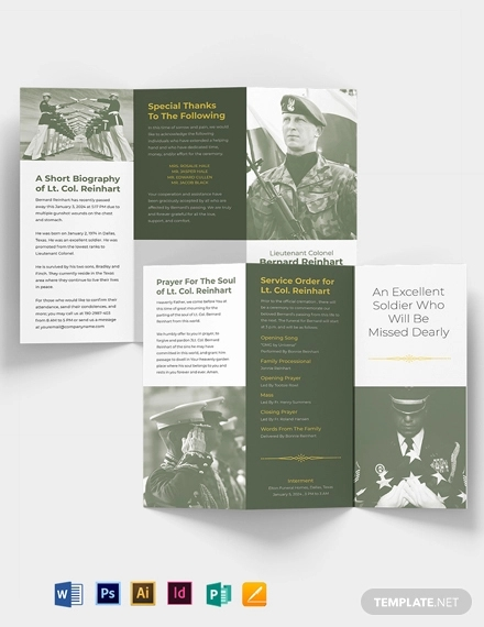 military eulogy funeral tri fold brochure template