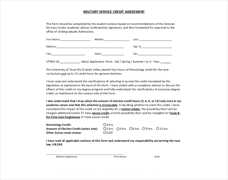 military service credit agreement