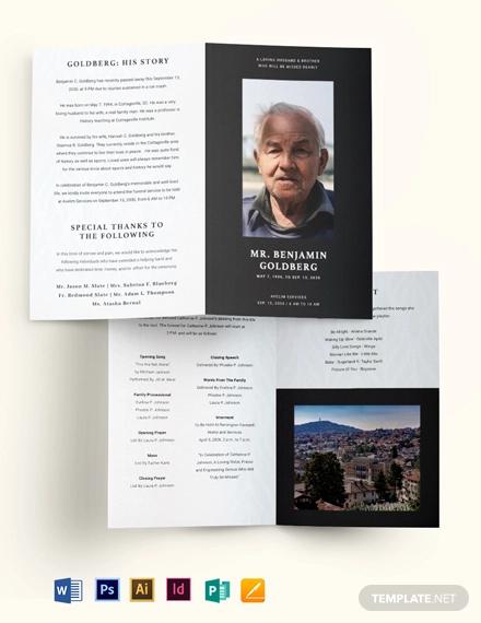 minimalistic eulogy funeral bi fold brochure template
