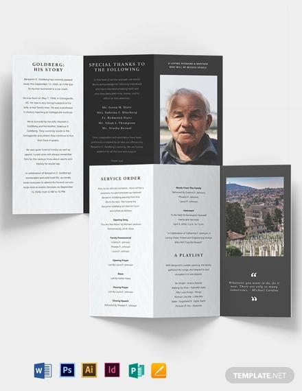 minimalistic eulogy funeral tri fold brochure template