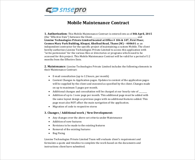 mobile maintenance contract