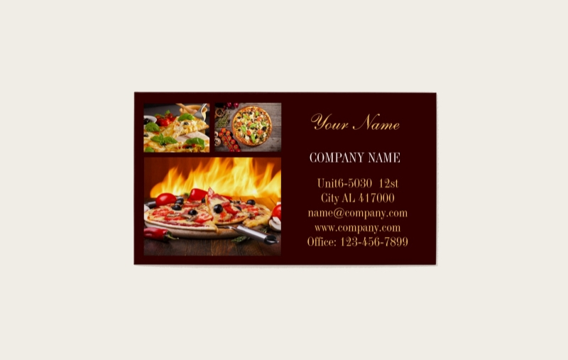 modern dinner catering business card