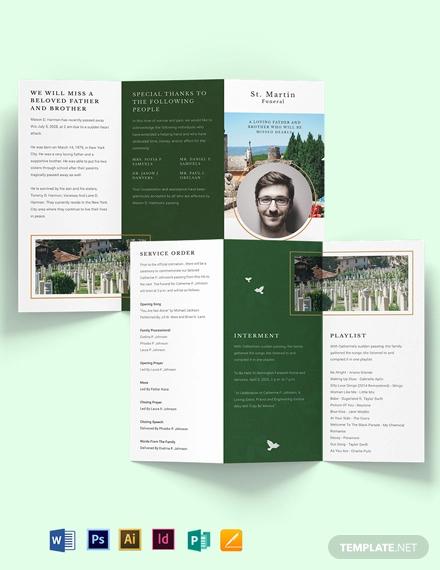 modern eulogy funeral tri fold brochure template