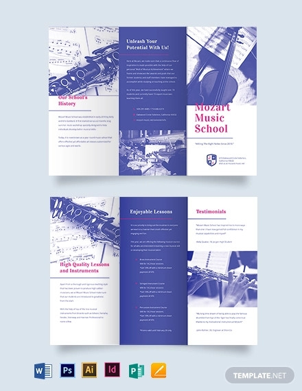 modern music school tri fold brochure template