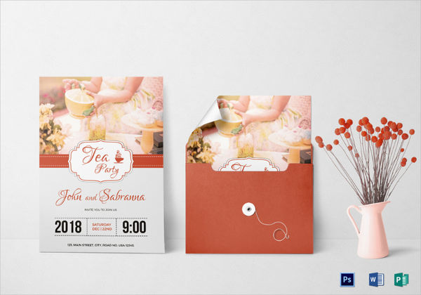 modern tea party invitation