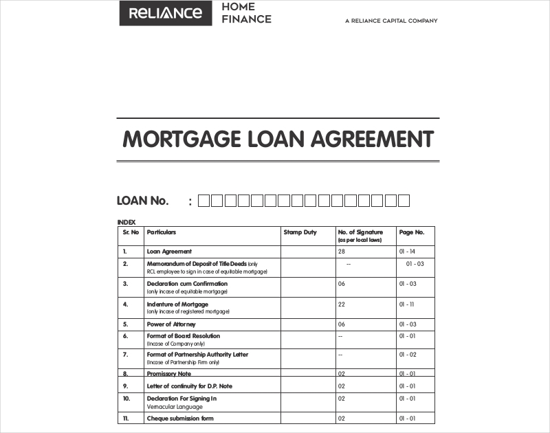 mortgage loan agreement example