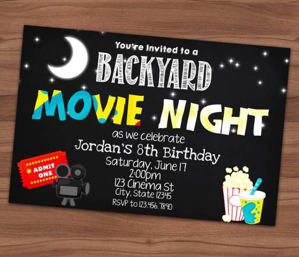 movie night chalkboard invitation