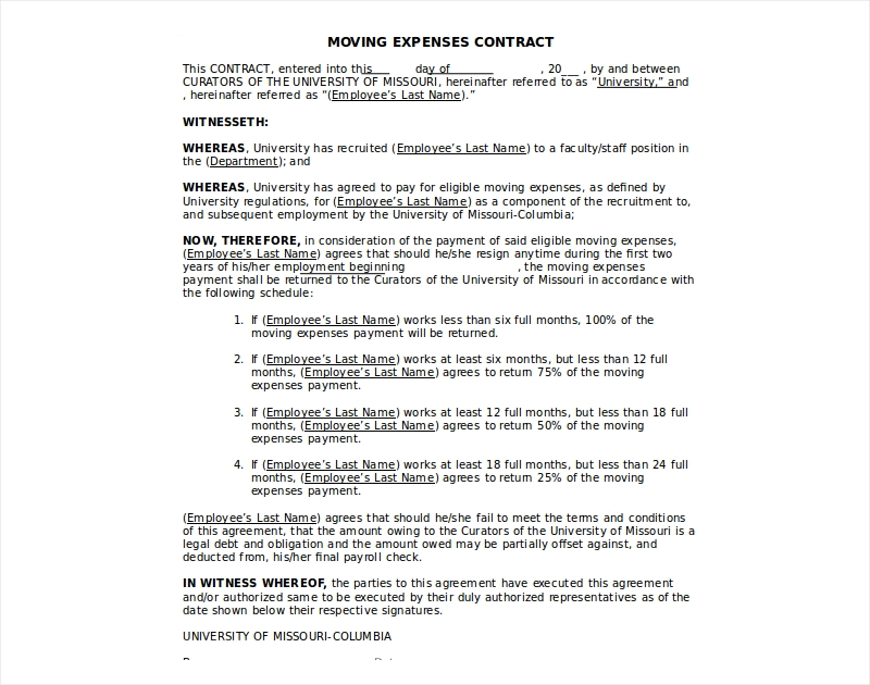 moving expenses contract
