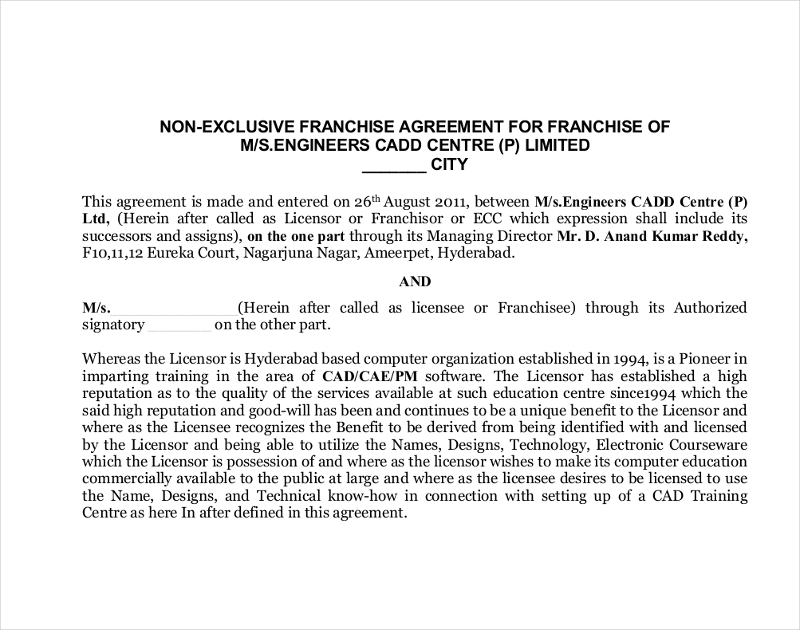 non exclusive franchise agreement
