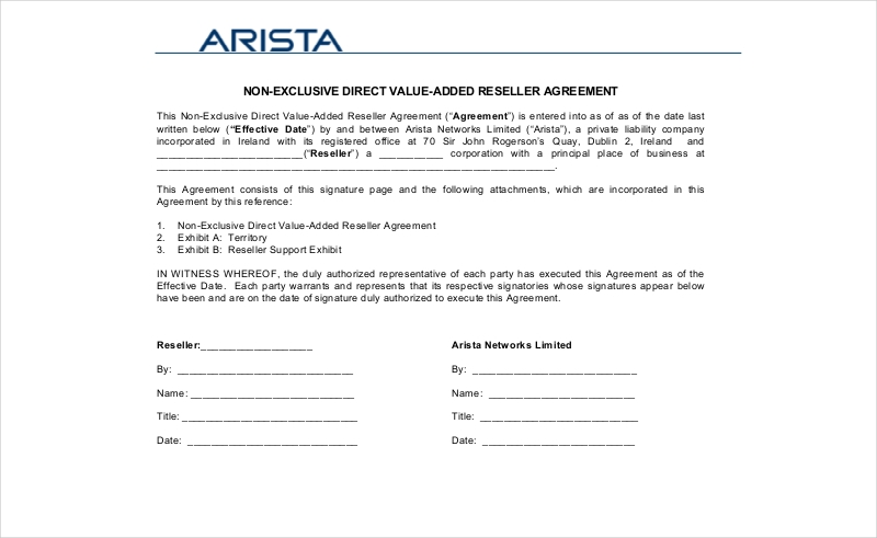 non exclusive reseller agreement