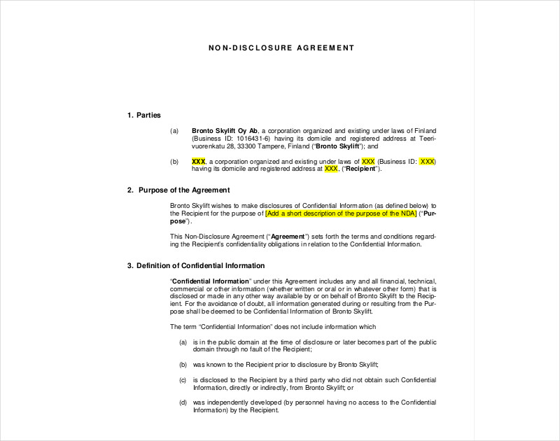 nondisclosure agreement example