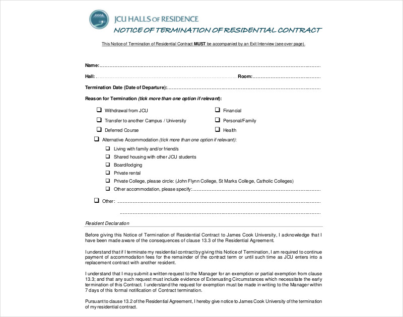 notice of termination of residential contract