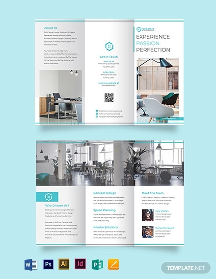 office interior tri fold brochure template