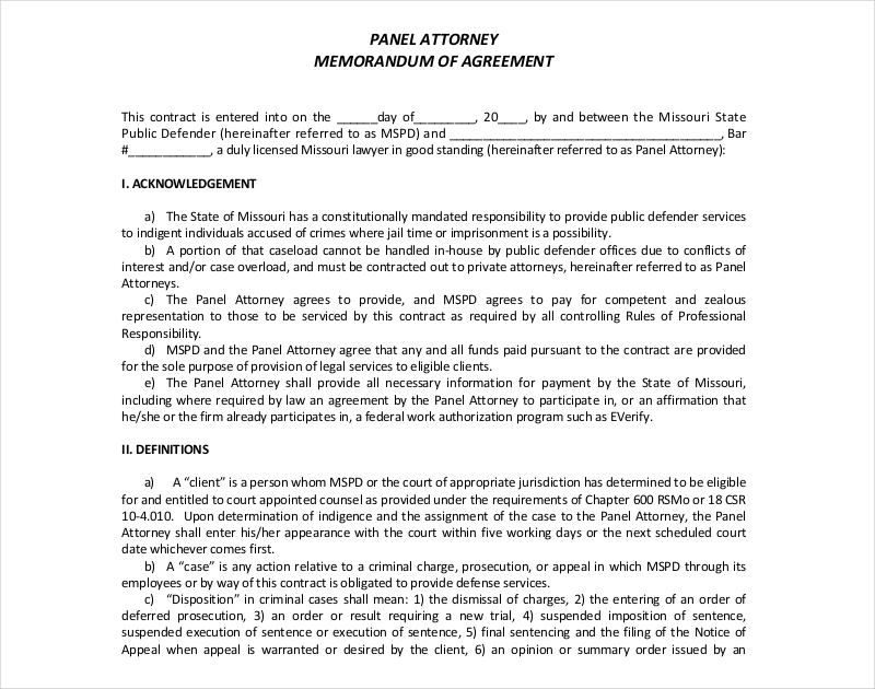 panel attorney memorandum agreement