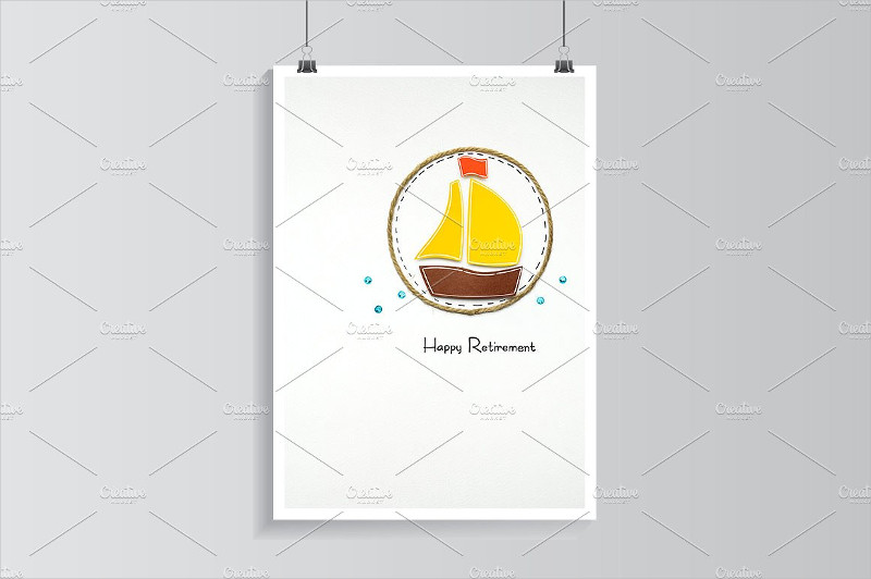 paper boat design retirement greeting card