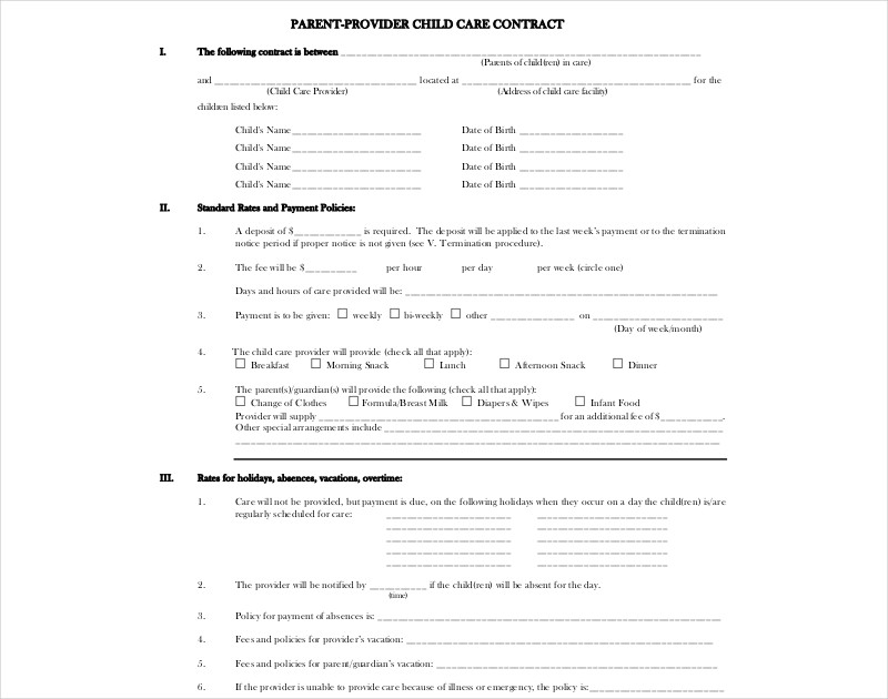 parent provider child care contract