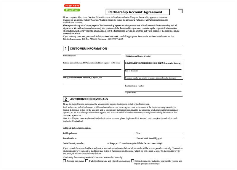 partnership account agreement