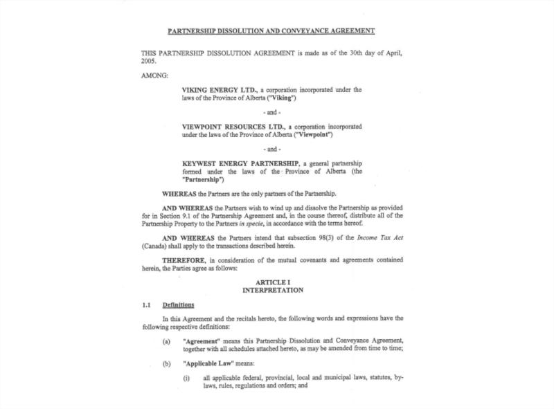 partnership dissolution conveyance agreement