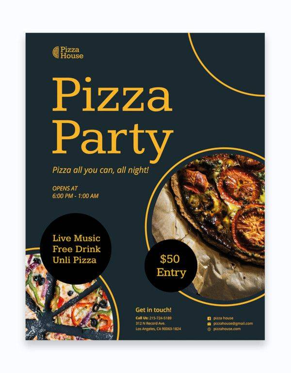 pizza party flyer template 600